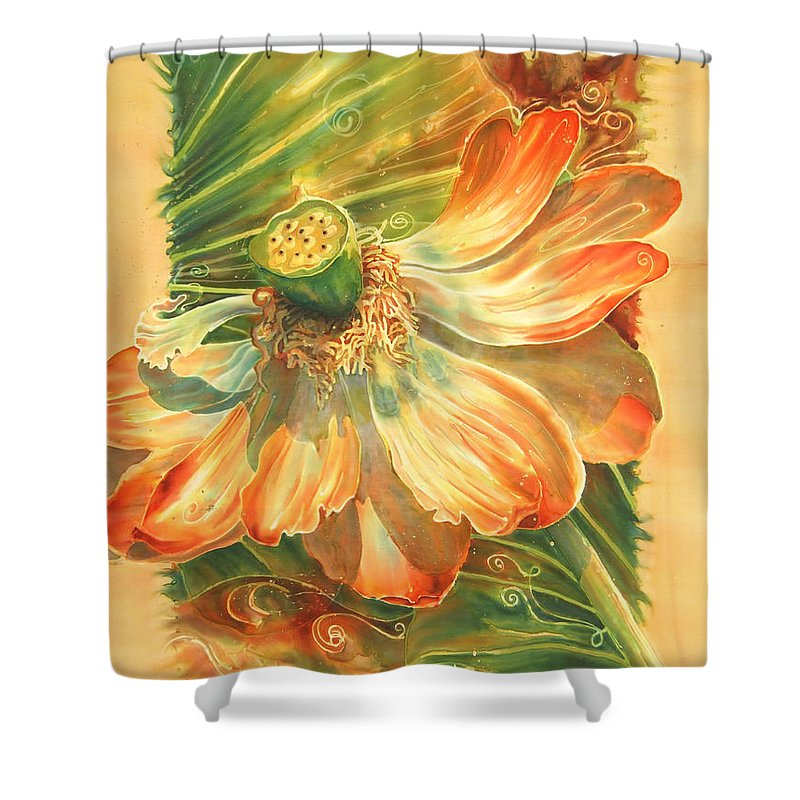 Flower Shower Curtain featuring the painting Season's End by Deborah Younglao