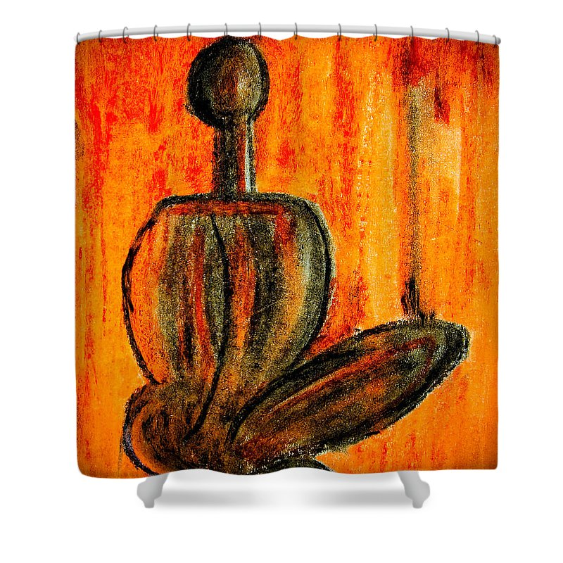Abstract Shower Curtain featuring the painting Seated Man by Nirdesha Munasinghe