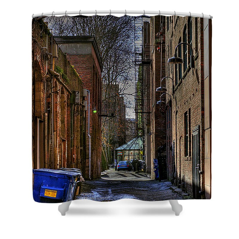Pioneer Square Seattle Shower Curtain featuring the photograph Seattle Alleyway by David Patterson