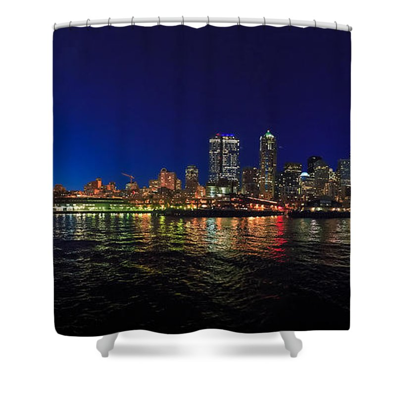 Seattle Shower Curtain featuring the photograph Seattle City Skyline Romance Panorama by Scott Campbell