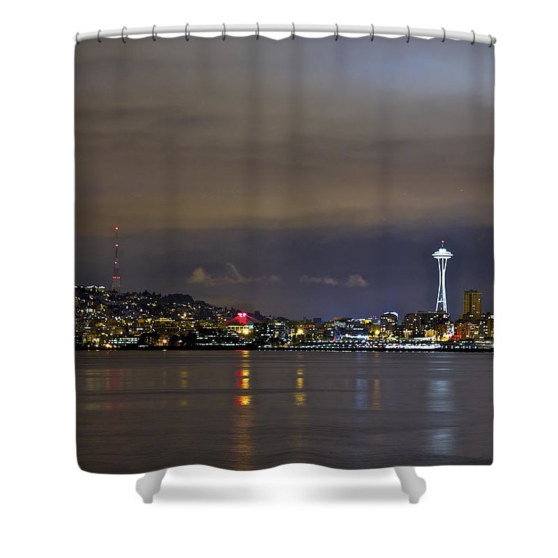 Night Photo Shower Curtain featuring the photograph Seattle Cityscape At Night by SC Heffner