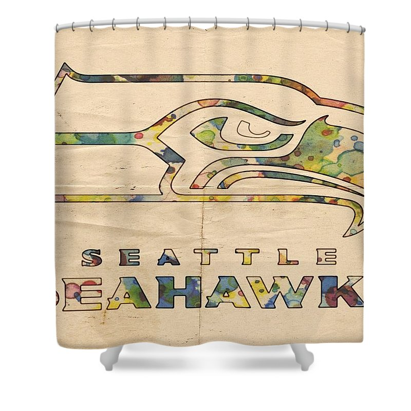 Seattle Seahawks Shower Curtain Featuring The Painting Logo Poster By Florian Rodarte