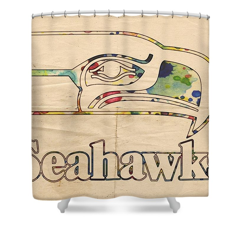 Seattle Seahawks Shower Curtain Featuring The Painting Vintage Poster By Florian Rodarte