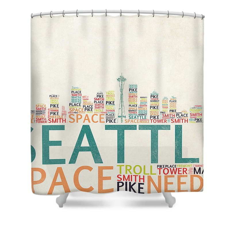 Seattle Skyline Typograpy Shower Curtain For Sale By World Art