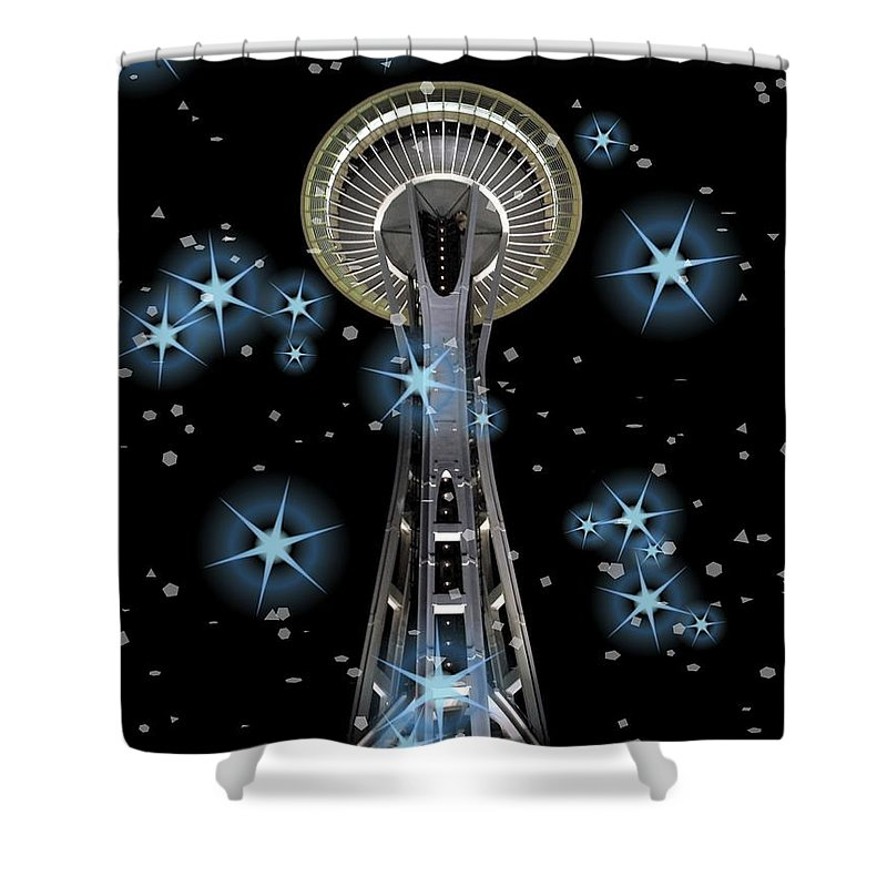 Seattle Space Needle Blue Stars Shower Curtain featuring the digital art Seattle Space Needle Blue Stars by Chalet Roome-Rigdon