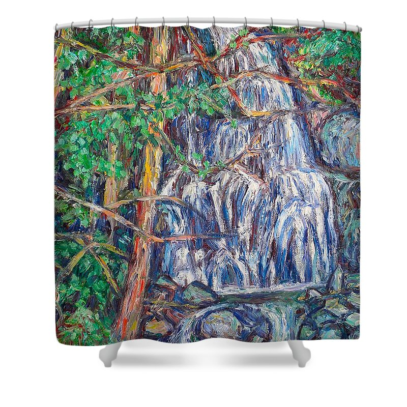Waterfall Shower Curtain featuring the painting Secluded Waterfall by Kendall Kessler