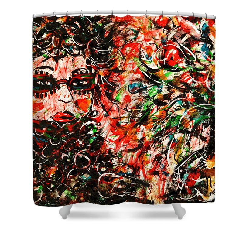 Free Expressionism Shower Curtain featuring the painting Secret Agent by Natalie Holland
