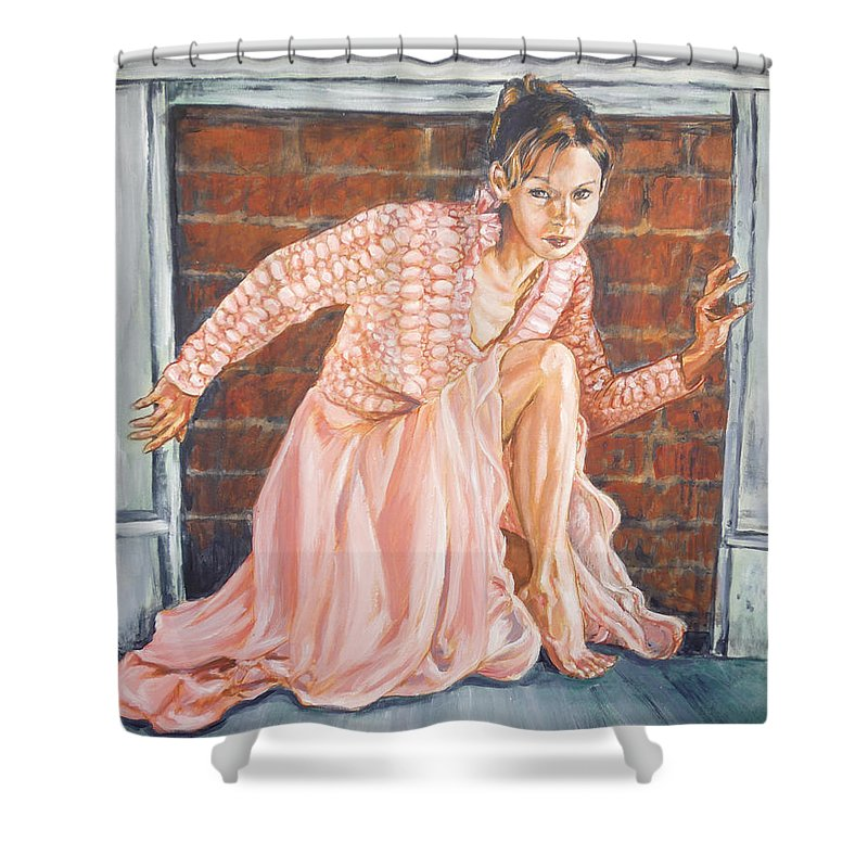 Blonde Shower Curtain featuring the painting Secret Passage by Bryan Bustard