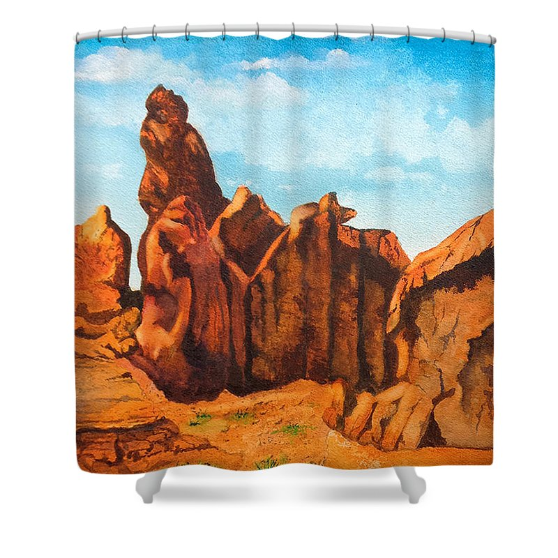 Landscape Shower Curtain featuring the painting Sedona by Frank Raftery