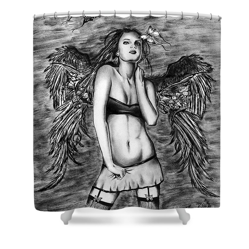 Seductive Angel Shower Curtain featuring the drawing Seductive Angel by Peter Piatt