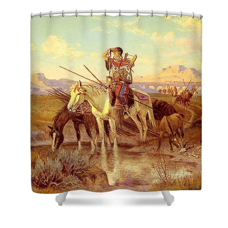 Seeking New Camping Ground Shower Curtain featuring the digital art Seeking New Camping Ground by Olaf Seltzer