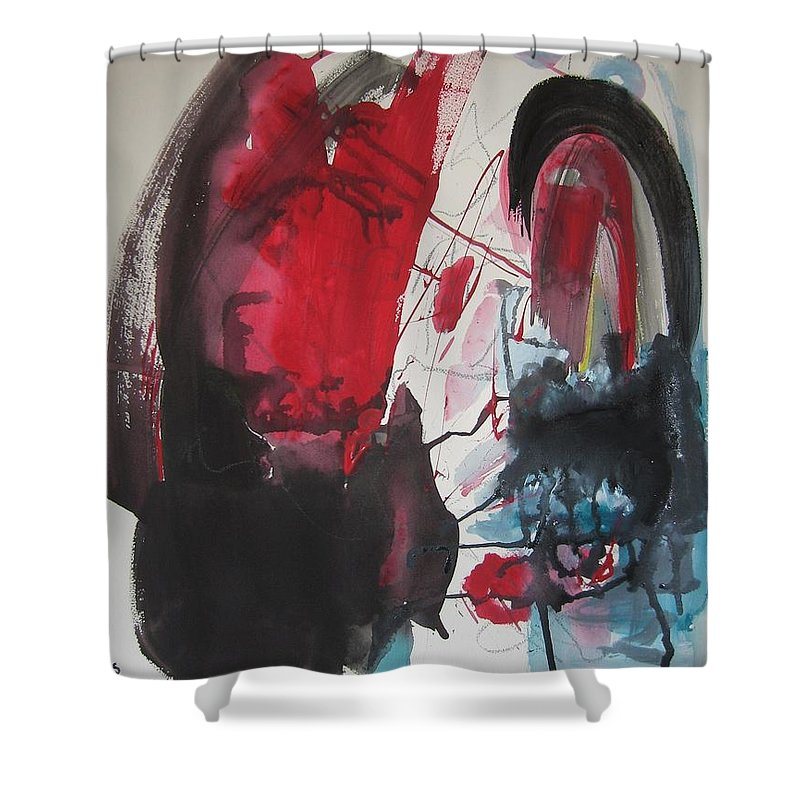 Red Paintings Shower Curtain featuring the painting Seem To Happen Suddenly Original Abstract Colorful Landscape Painting For Sale Red Blue Green by Seon-Jeong Kim