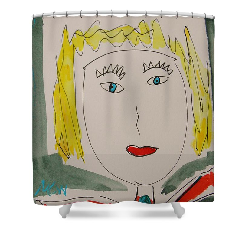 Girl Shower Curtain featuring the painting Self I See October 12 by Mary Carol Williams