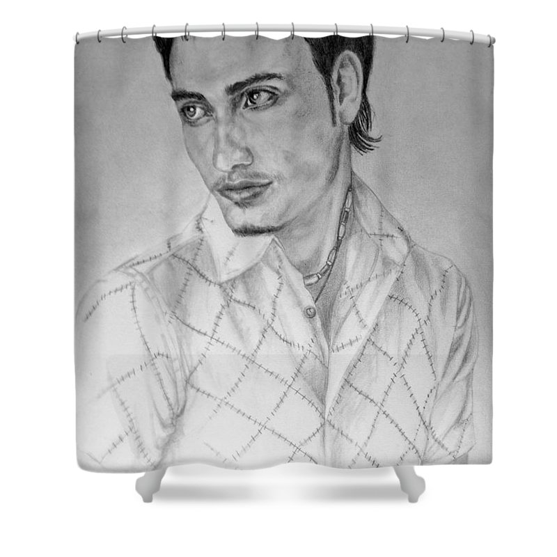 Portrait Shower Curtain featuring the drawing Self Portrait by Alban Dizdari