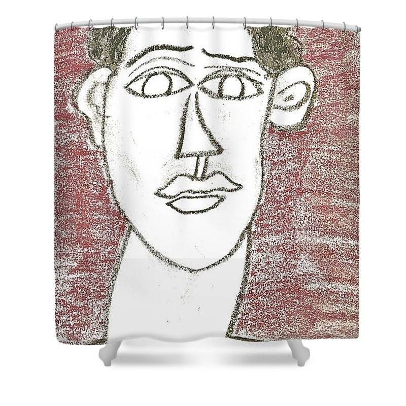 Self-portrait Shower Curtain featuring the drawing Self-portrait As A Young Man by Mario MJ Perron