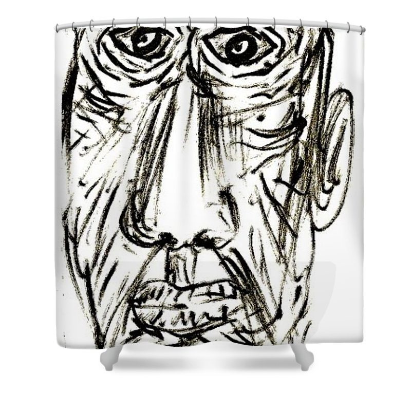 Self-portrait Shower Curtain featuring the drawing Self-portrait As An Old Man by Mario MJ Perron