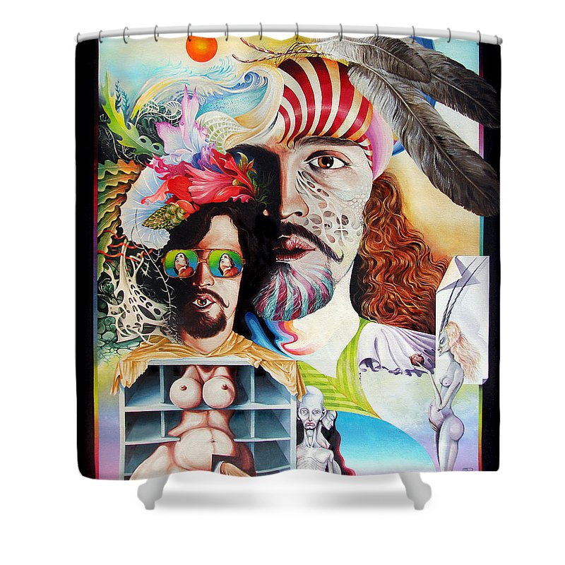 Surrealism Shower Curtain featuring the painting Selfportrait With The Critical Eye by Otto Rapp