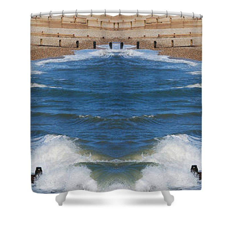Selsey Shower Curtain featuring the digital art Selsey Mirrored by Wendy Wilton