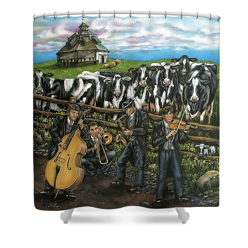 Linda Simon Shower Curtain featuring the painting Semi-formal by Linda Simon