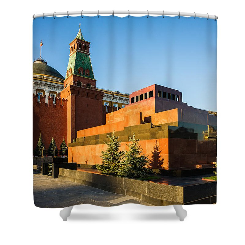 Architecture Shower Curtain featuring the photograph Senate Tower And Lenin's Mausoleum by Alexander Senin