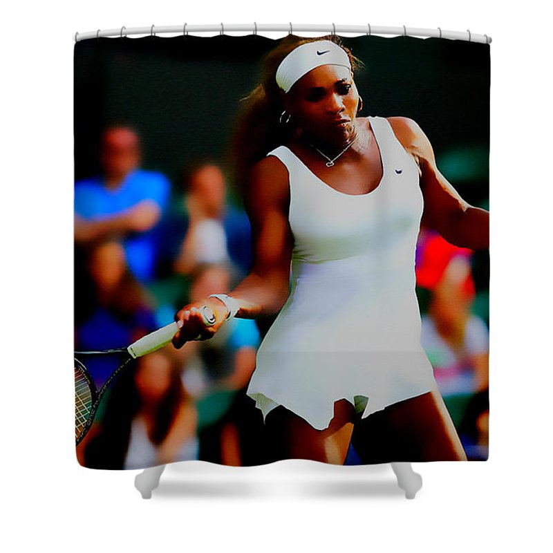 Serena Williams Shower Curtain featuring the digital art Serena Williams Making It Look Easy by Brian Reaves