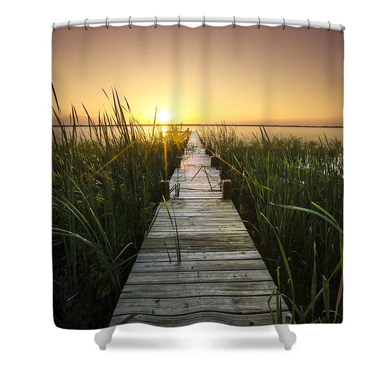 Clouds Shower Curtain featuring the photograph Serenity At The Lake by Debra and Dave Vanderlaan