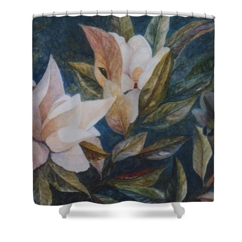 Magnolias; Humming Bird Shower Curtain featuring the painting Serenity by Ben Kiger