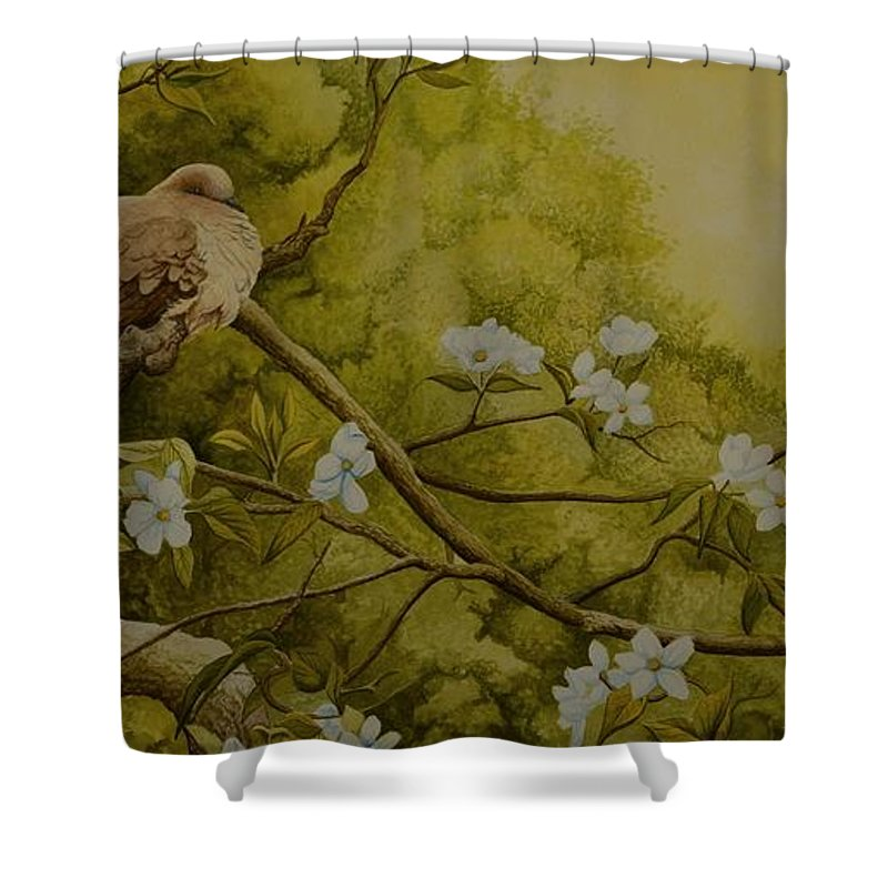 Birds Shower Curtain featuring the painting Serenity by Charles Owens