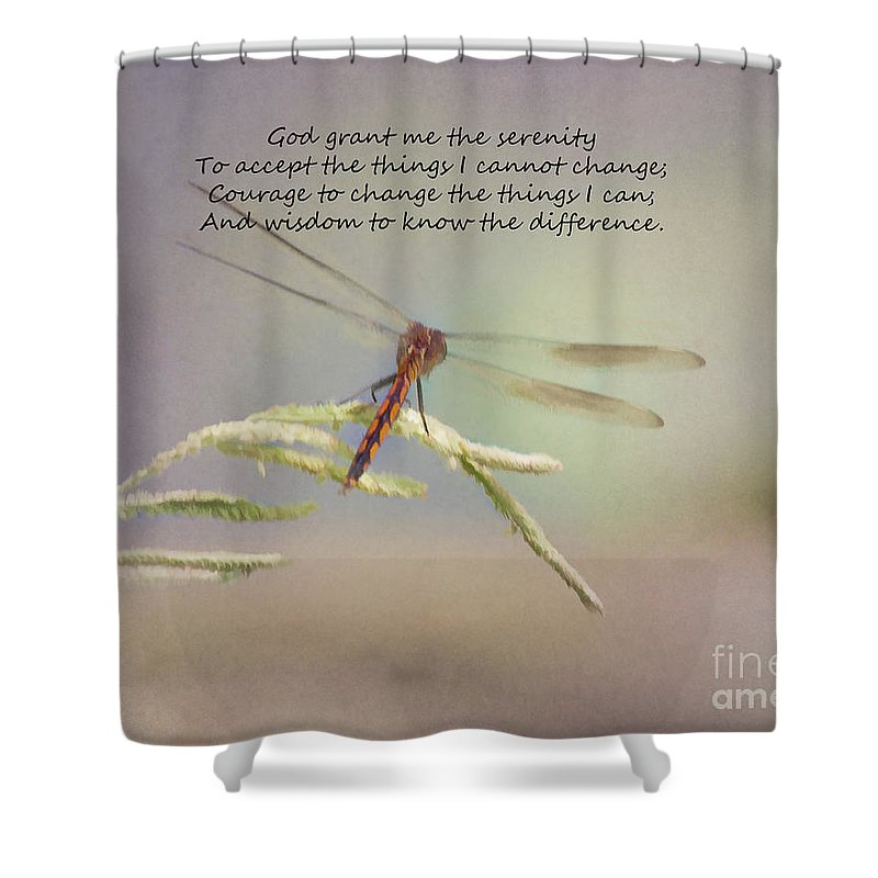 Serenity Courage And Wisdom Shower Curtain featuring the photograph Serenity Courage And Wisdom by TN Fairey