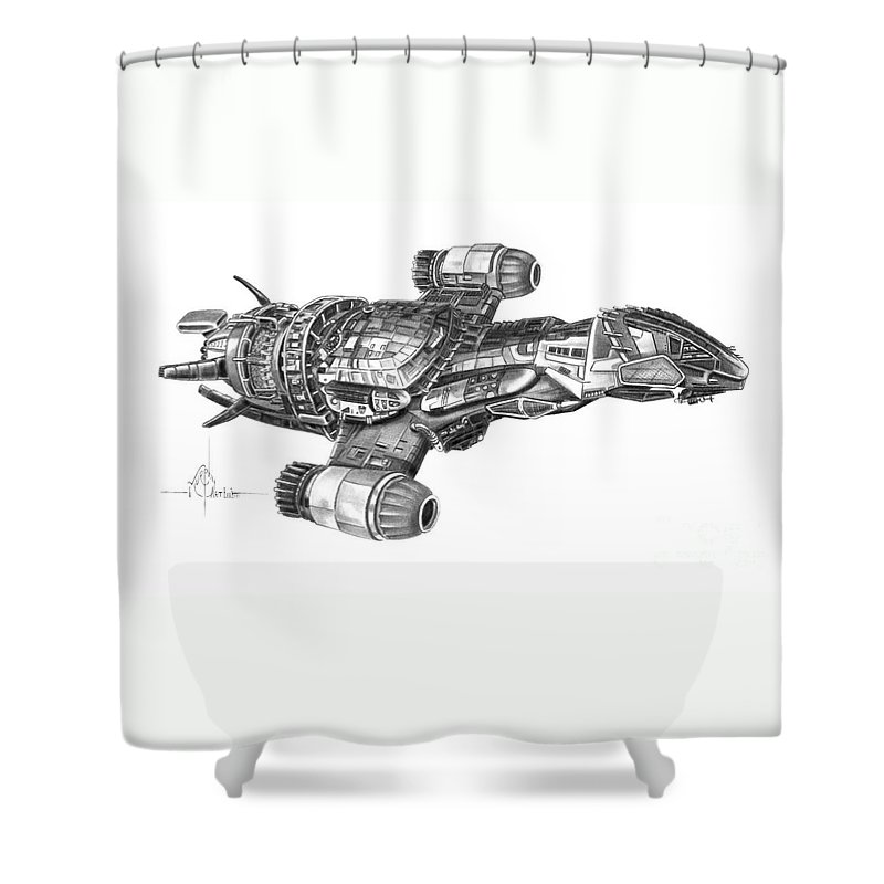 Pencil Shower Curtain Featuring The Drawing Serenity Firefly Class By Murphy Elliott