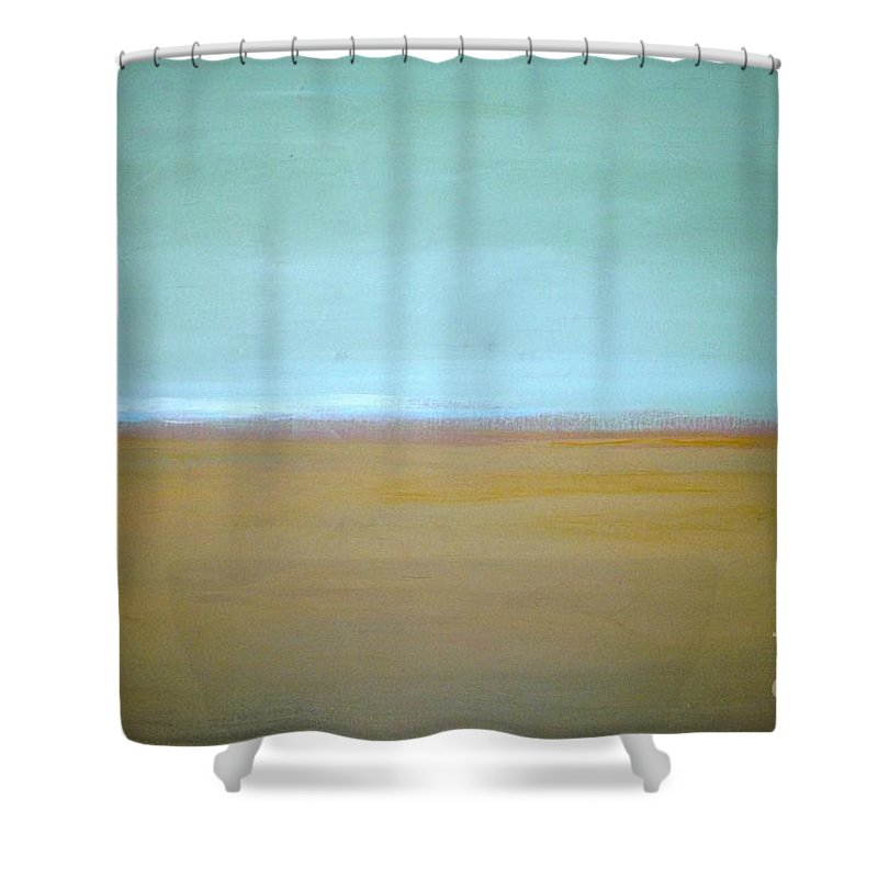 Landscape Shower Curtain featuring the painting Wheat Field by Vesna Antic
