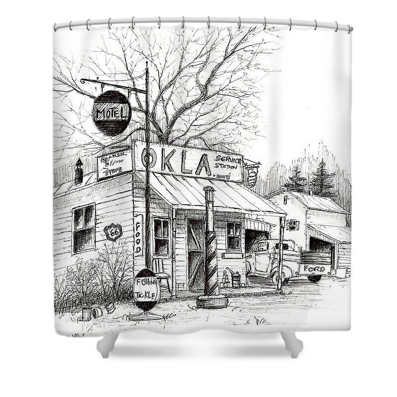 Pen & Ink Shower Curtain featuring the painting Service Station by Steven Schultz