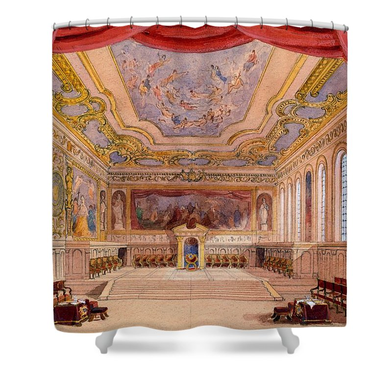 Set Design Shower Curtain Featuring The Drawing For Merchant Of Venice By English