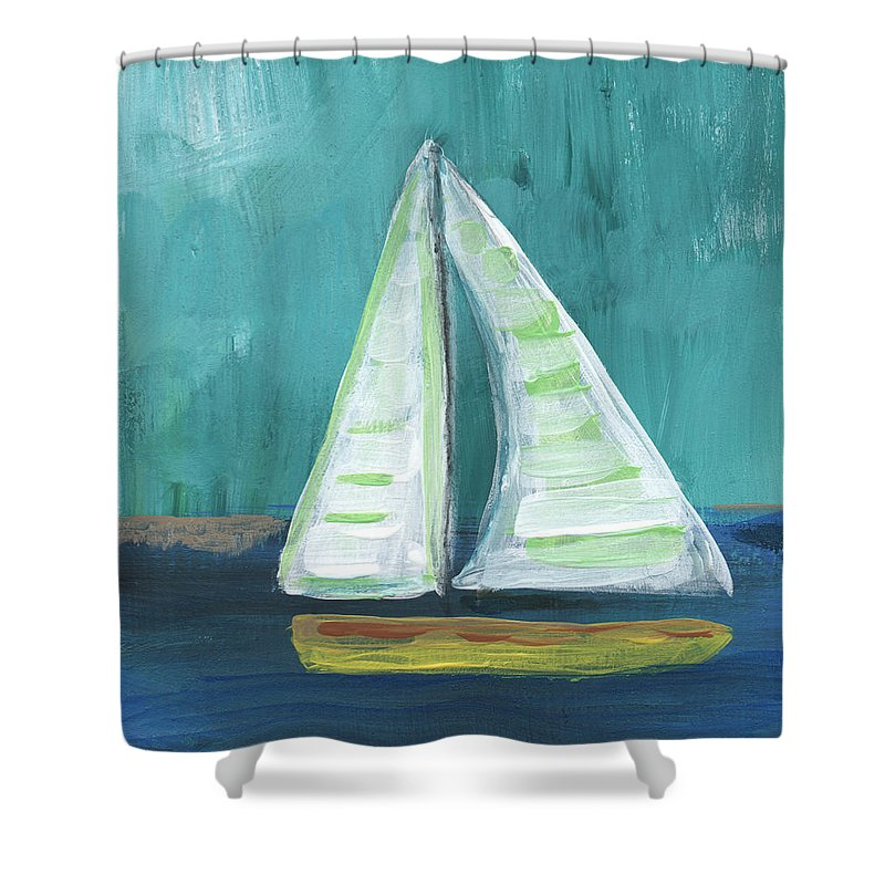 Boat Shower Curtain featuring the painting Set Free- Sailboat Painting by Linda Woods