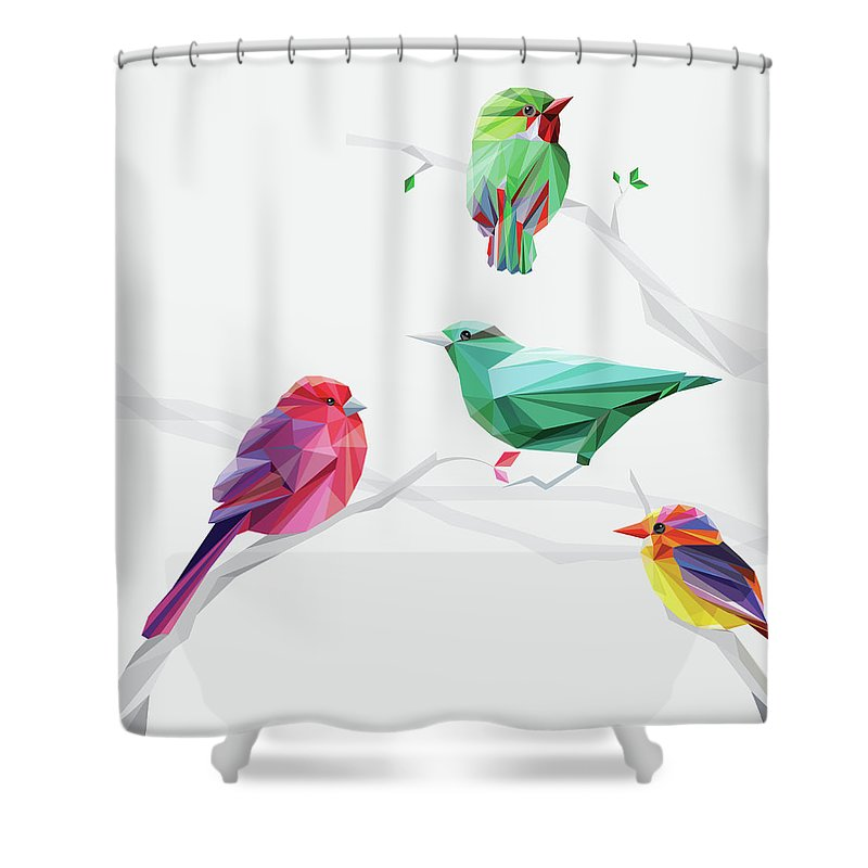 Funky Shower Curtain featuring the digital art Set Of Abstract Geometric Colorful Birds by Pika111