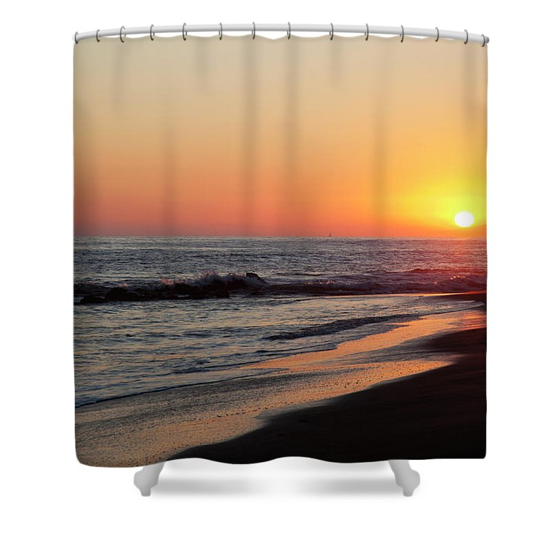 Scenics Shower Curtain featuring the photograph Setting Sun On A Crystal Cove Beach by Driendl Group