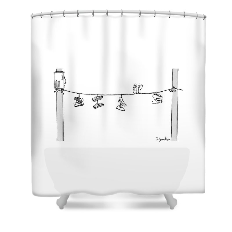 Several Pairs Of Shoes Dangle Over An Electrical Shower Curtain for ...