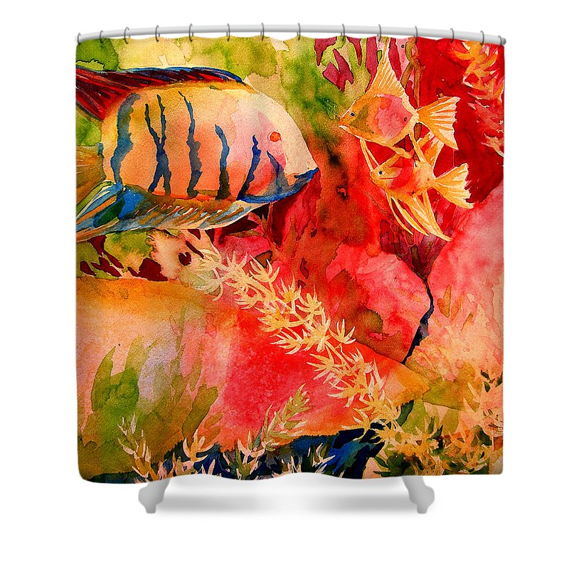 Fish Prints Shower Curtain featuring the painting Severums And Angels by Julianne Felton