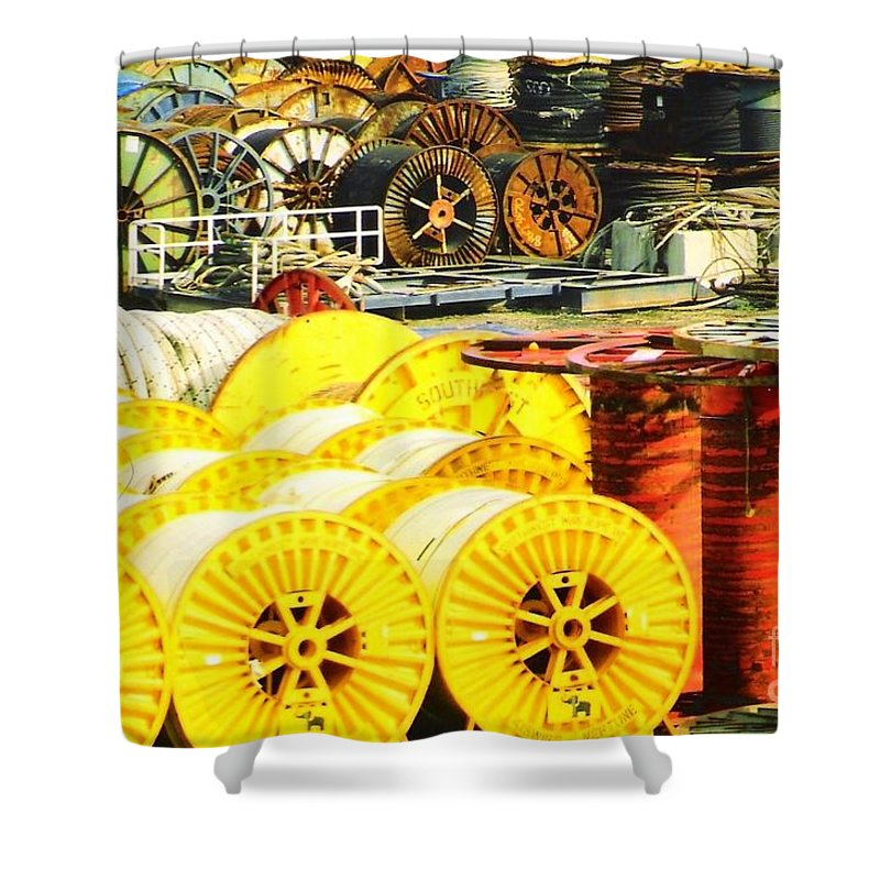 Port Fourchoun Shower Curtain featuring the photograph Sew A Needle Pulling Cable Dockside At Port Fourchoun Louisiana by Michael Hoard