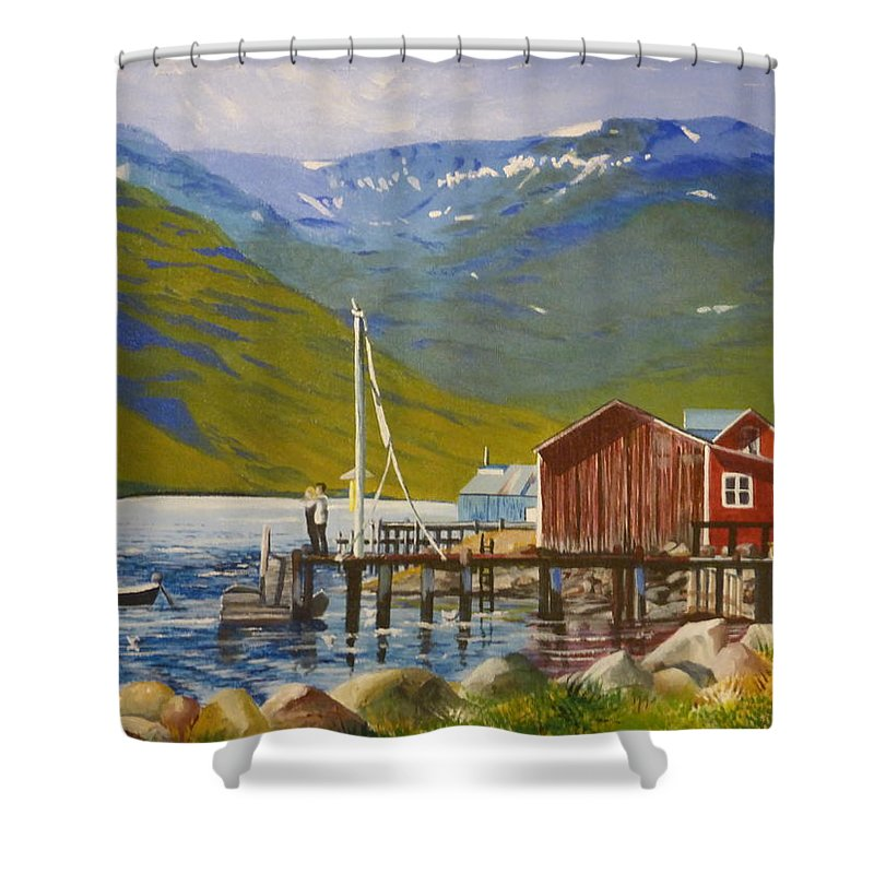 Mountains With Remnants Of Winter Snow Shower Curtain featuring the painting Seydisfjordur Wharf by Barbara Ebeling