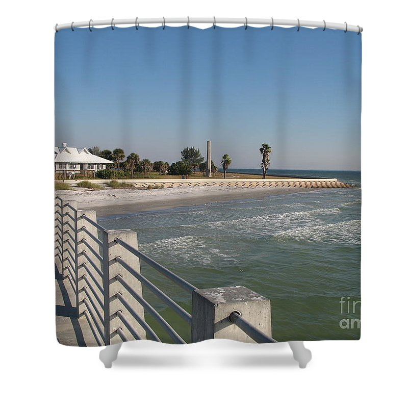 Pier Shower Curtain featuring the photograph Shadow On The Pier by Christiane Schulze Art And Photography