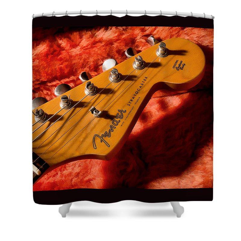 Guitar Shower Curtain featuring the digital art Shadowcaster by Douglas Pittman