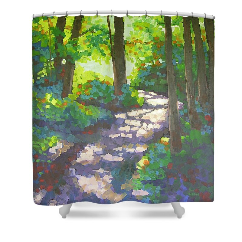 Landscape Shower Curtain featuring the painting Shadowed Path by Mary McInnis