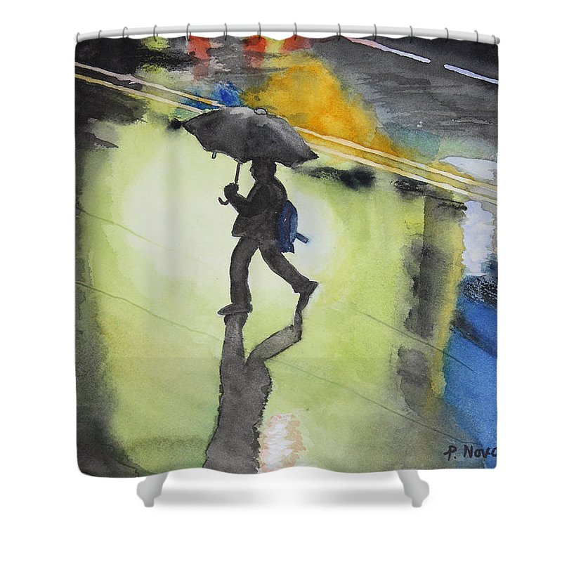 Rain Shower Curtain featuring the painting Shadows In The Rain by Patricia Novack
