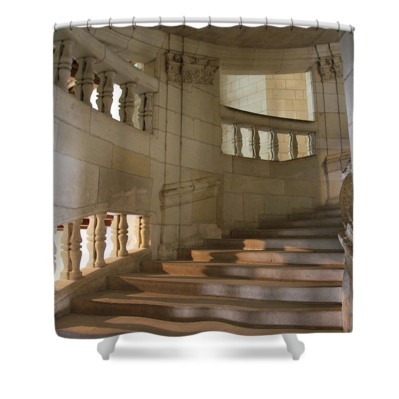 Staircase Shower Curtain featuring the photograph Shadows On Chateau Chambord Stairs by Christiane Schulze Art And Photography