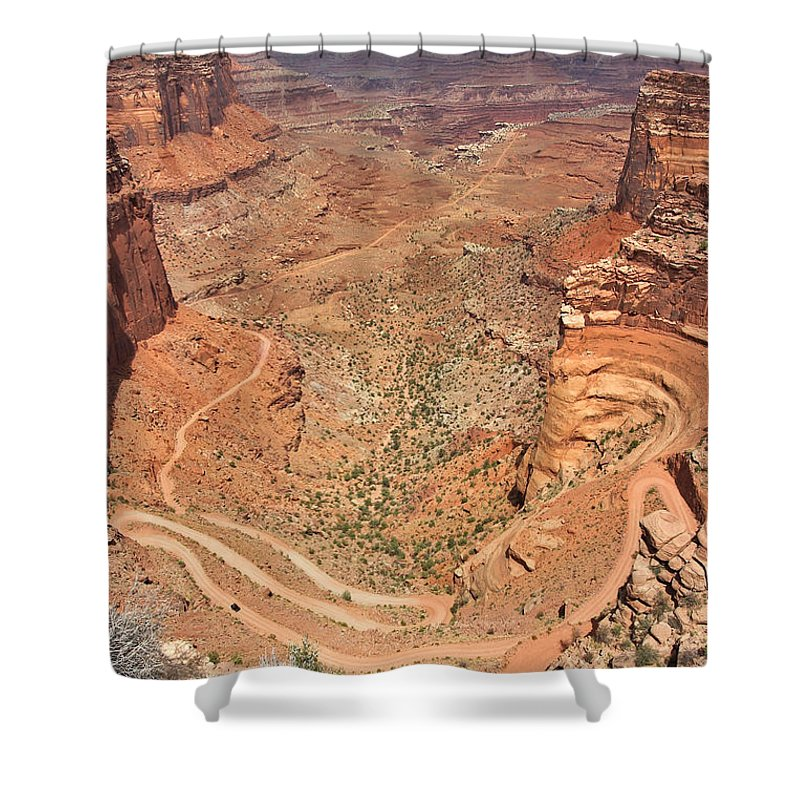 3scape Shower Curtain featuring the photograph Shafer Trail by Adam Romanowicz