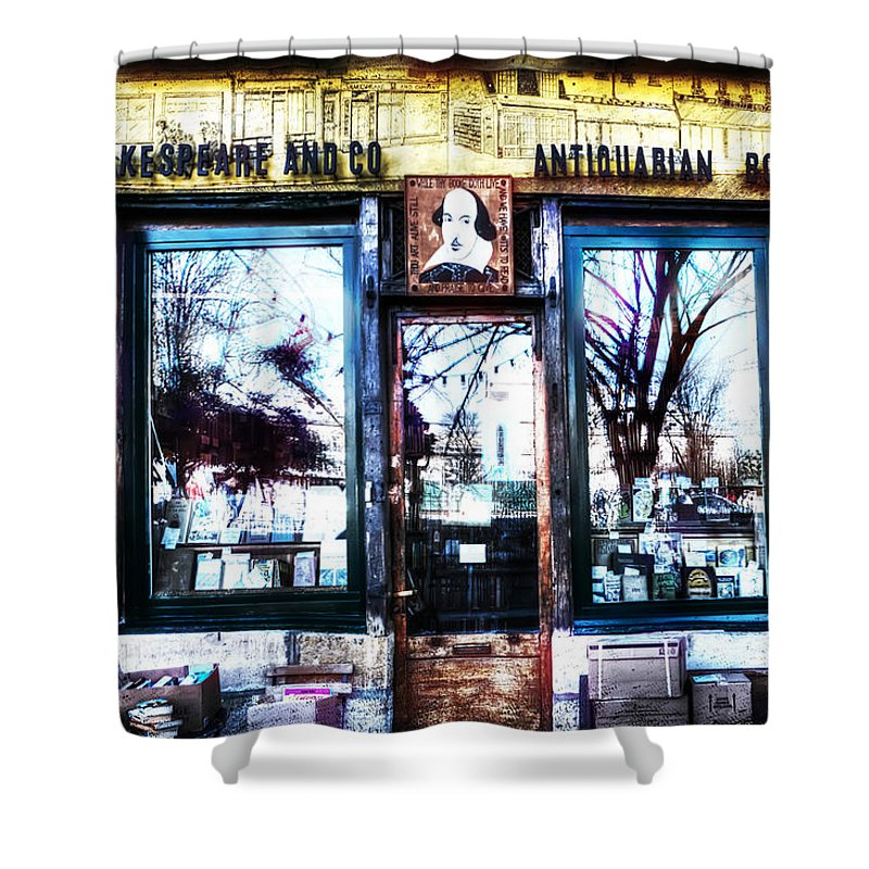 Evie Shower Curtain featuring the photograph Shakespeare Antiquarian Books Paris France by Evie Carrier