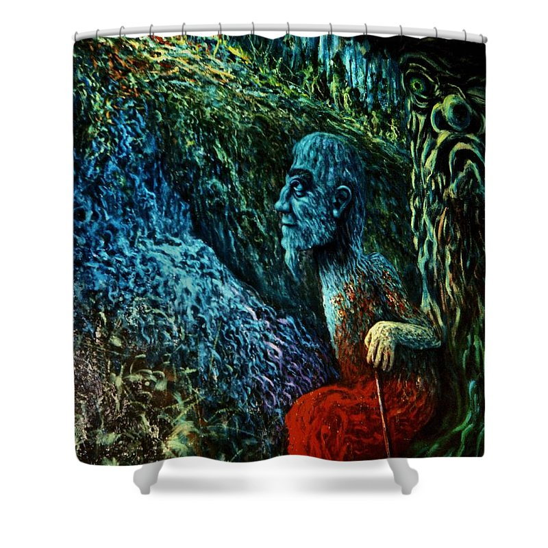 Genio Shower Curtain featuring the digital art Shaman by Genio GgXpress