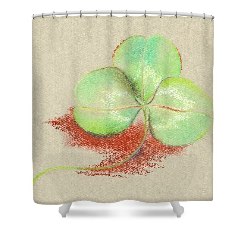 Clover Shower Curtain featuring the pastel Shamrock Clover by MM Anderson