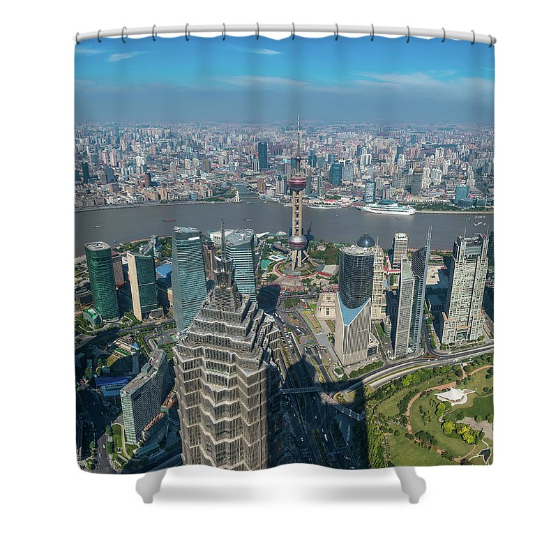 Chinese Culture Shower Curtain featuring the photograph Shanghai Aerial View Over Pundong by Fotovoyager